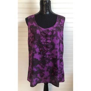 Halogen Purple and Black Silk Sleeveless Blouse